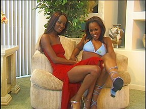 Ambisexual ebony sweethearts in act