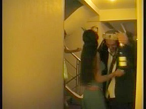 2 costumed couples fuck in hotel room