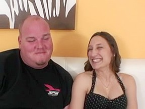 Large obese chap receives favourable with a sexy brunette hair