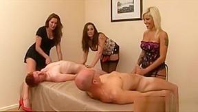 Fetish handjob instructor shows babes how to tug...