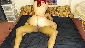 Bounces in pink panties on bbc while daddys...