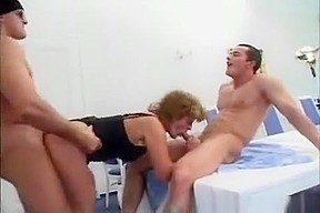 Crazy old mom gets two hard cocks and...