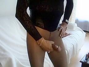 Bianca black wanks in nylon pantyhose...