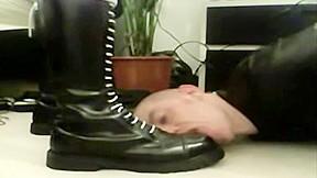 Worthless skinhead slave foot worship...