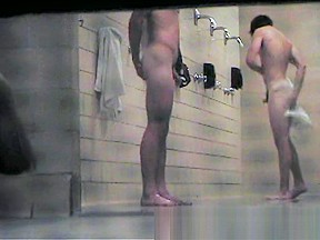 College showers swimmers...