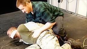 Hot black soldier tickled...