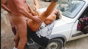Bitch wife fucks public husband watches and does...