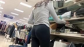 Leggings working at the shop hidden cam...