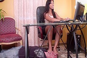 Femdom sienna ebony footstool...
