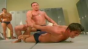 Military locker room wrestling...