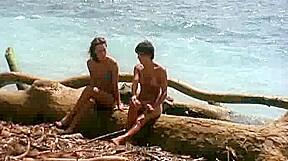 Nude retro lesbian sluts having fun at beach...