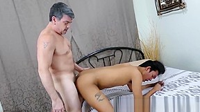 Asian dreams of bareback with daddy before cumming...