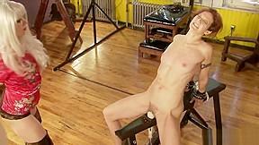 Skinny slave waxed spanked horny mistre...