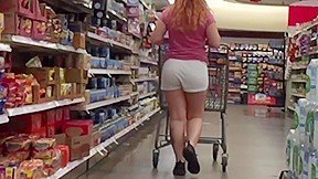 Sexy legs redhead in vpl white shorts...