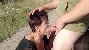 Short haired granny gets brutal fingering on a...