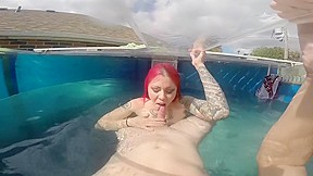 Underwater red mermaid blowjob...
