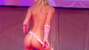 Skinny teen doll dancing naked on stage...