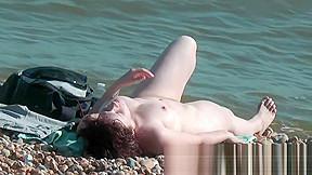 Sweatie tanned pussy beach...