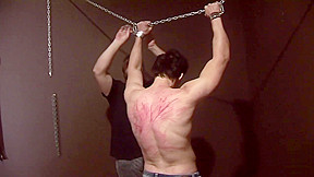 Punished boy flogging...