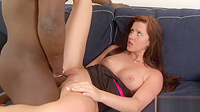 Black guy fills redhead blanchette with his seed...