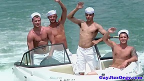 Semen loving sailor studs unloading bukkake...