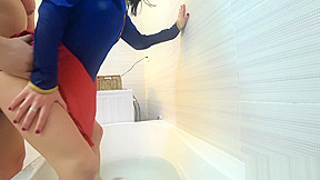 Cosplay supergirl save the day and recive a...