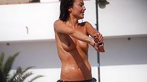 Hot tanned with pierced nipple voyeur...