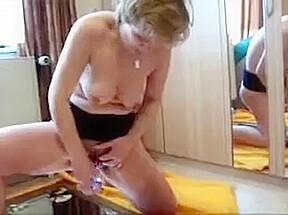 Granny riding dildo...