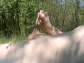 Wanking off outdoor getting caught...