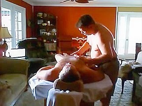 Guy massages his bf and gives him a...