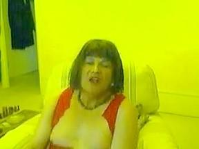 Fat poses on web camera...