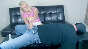 Blonde vanessa cage teen gives a bondage...