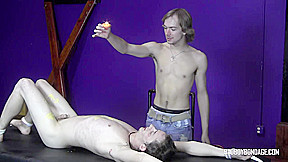 Badboybondage skinny sub cannot escape and wax torment...