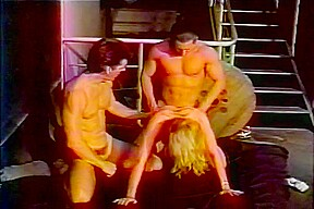 Busty belle gets a workout with two thick...