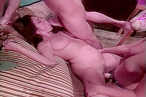 Hot male and 2 female threesome with spying...
