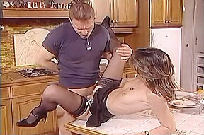 Hot milf get fucked on kitchen table...