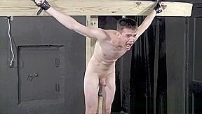 Crucified twink fucks himself with dildo bondage scene...