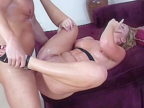 Exotic stunning blonde gives deep throat job...