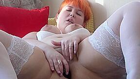 Fat lady in stockings fucks anal masturbates hairy...