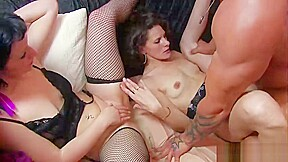 Sexy babes pleasure each other and his dick...