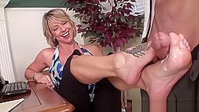 Bosses wife footjob...