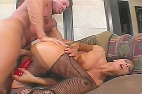 Dark haired chick gets dock dick and a...