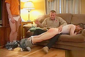 Brothers spank each other then caught by dad...