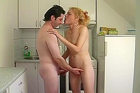 Old woman the shower young blonde woman gets...