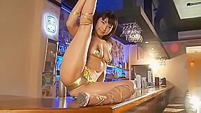 Girl in gold bikini...