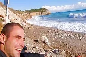 French guy fucking a sexy white tourist beach...