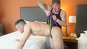 Hotel bully gives out intense wedgies...