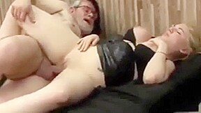 Old man put his in his hot lady...