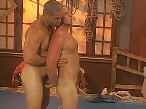 Cowboy wrestling...