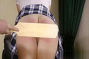 Teacher spanks strapped and paddleds a students barebottom...